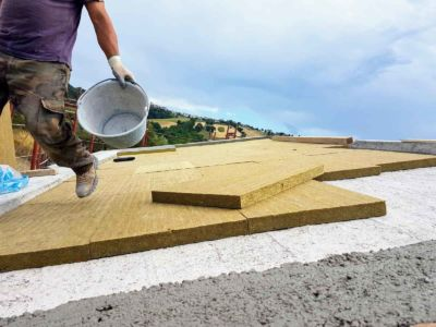 Insulation over Concrete Roof of a new house being built in Le Marche, Italy