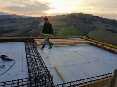 More Blocks In Place At Sunset at new house construction in Le Marche