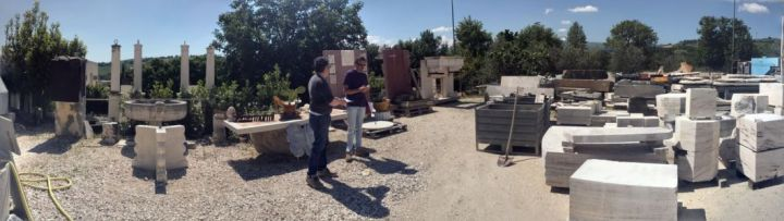 Panorama of Stone Yard in Le Marche