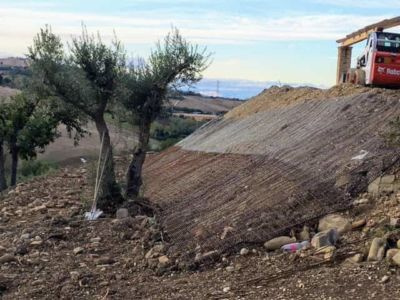 Slope Behind the House at a new building site in Le Marche, Italy