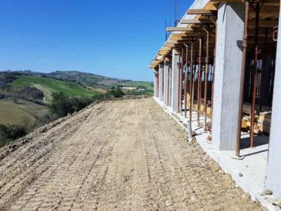 Start of Level Behind the House at new house being constructed in Le Marche
