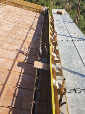 Steel Rebar Frame in Place of roof of a new house being built in Le Marche
