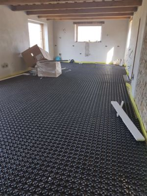Underfloor Heating Base in Main Room of a new construction house in Le Marche