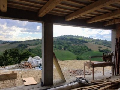 View from DR under construction at a new house building site in Le Marche