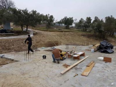 Preparing for Work at new house construction site in Le Marche