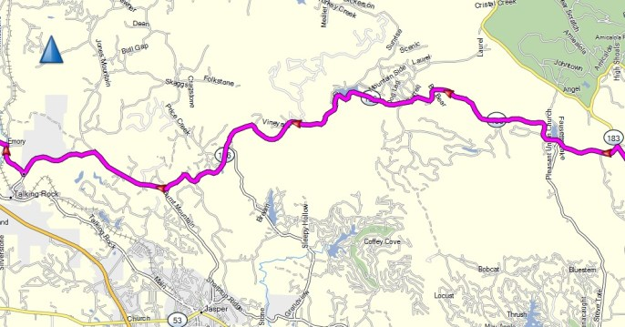 The GA HWY 136 portion of today's ride.