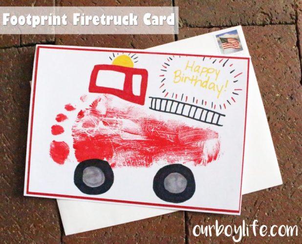Our Boy Life - Footprint Firetruck Card