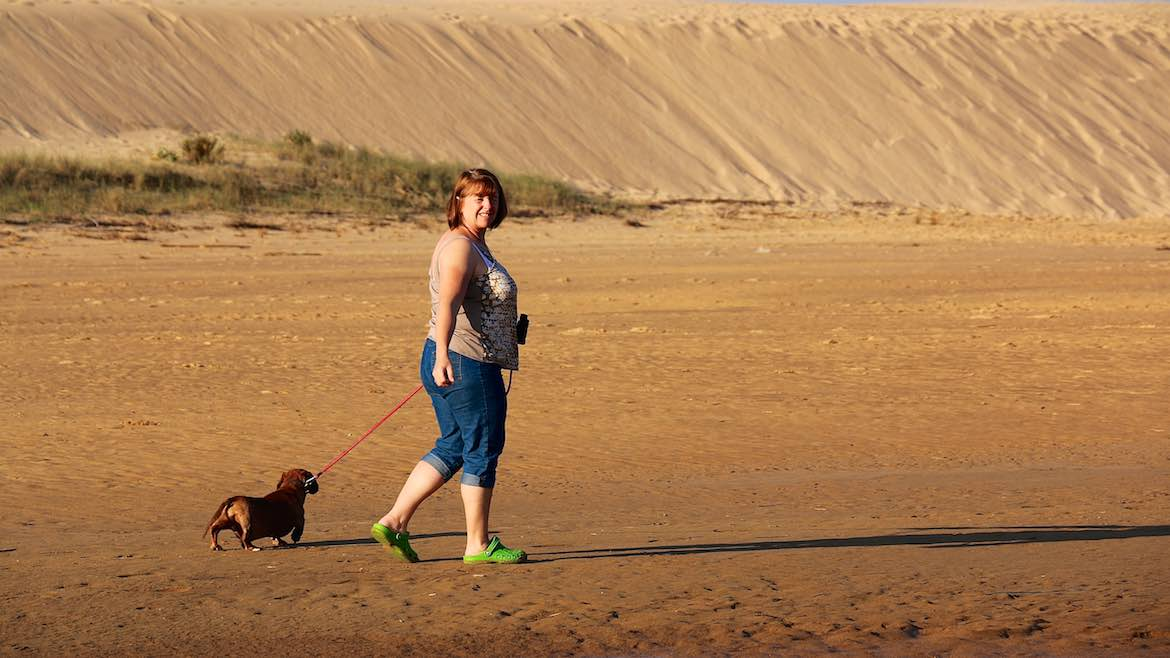Sand dunes & walkies at Praia da Borderia.