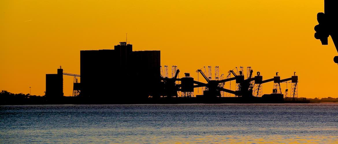 Industrial sunset at Belem, Lisbon.
