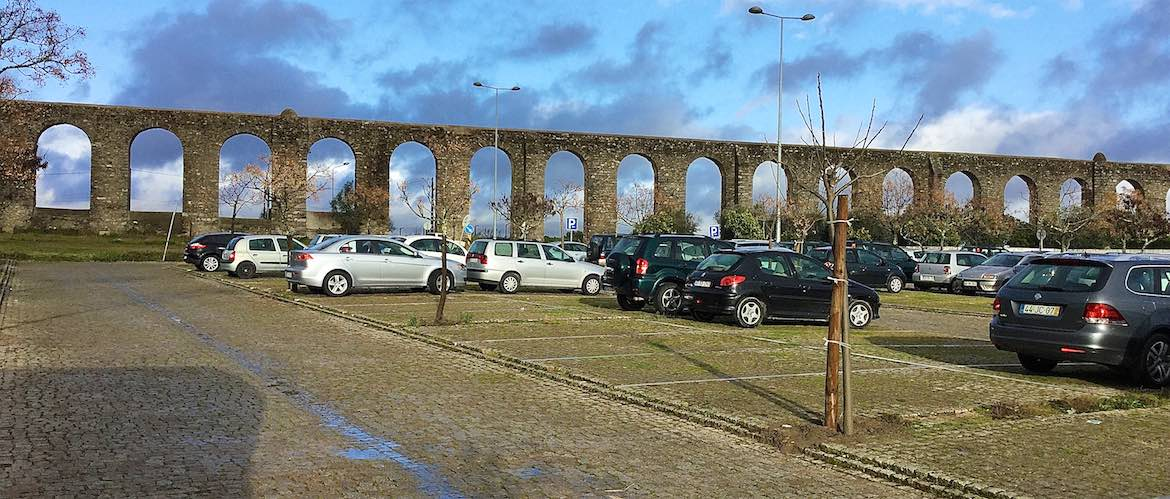 Parking next to the aqueduct in Evora.