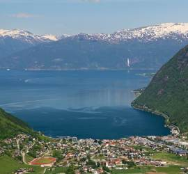 Elevated view of Vik and Sognefjord