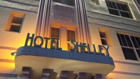 Hotel Shelley lit with amber lights