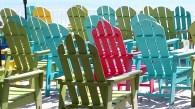 Colorful Adirondak chairs on a patio