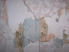 Shredding antique wall paper in pinks and blues
