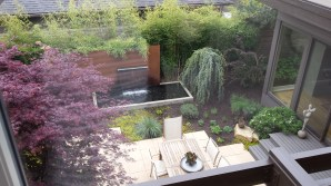 Landscaped courtyard viewed from second story.