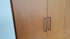 Matched-grain fir cabinetry.