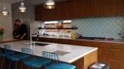 Modern kitchen with aqua Morrocan tile backsplash
