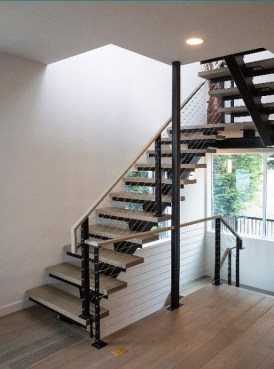 Modern open staircase with wood treads