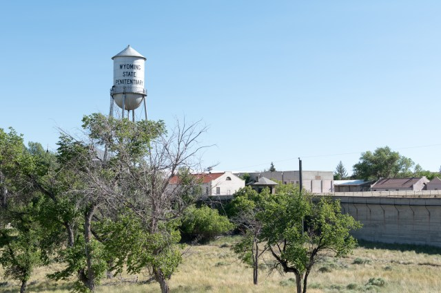 Prison water tower and wall