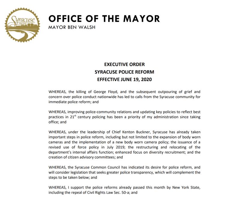 Mayor Ben Walsh Executive Order on Police Reform