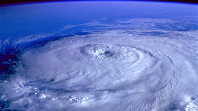 Outer space view of hurricane