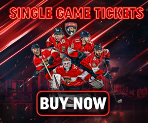 Single Game Panthers Tickets button. Five hockey players