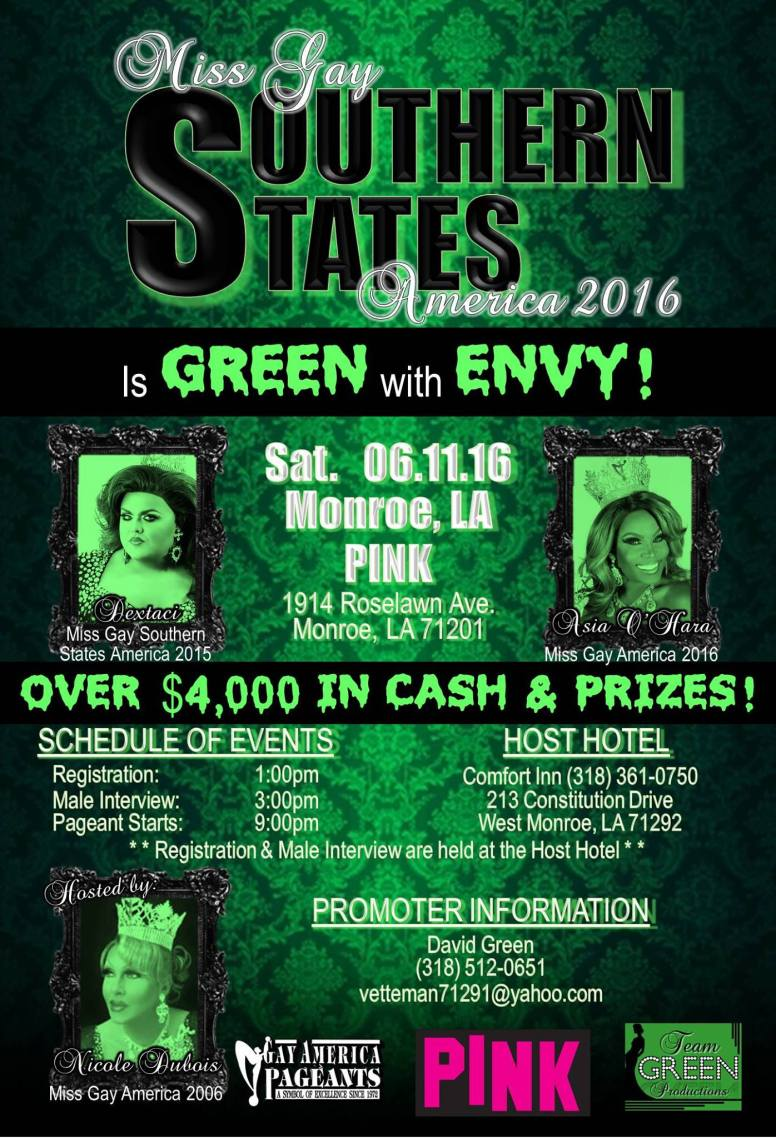 Show Ad | Miss Gay Southern States America | Pink (Monroe, Ohio) | 6/11/2016