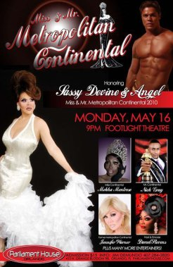 Show Ad | Miss Metropolitan Continental and Mr. Metropolitan Continental | Parliament House (Orlando, Florida) | 5/16/2011