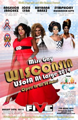 Show Ad | Miss Gay Wisconsin USofA at Large | Five (Madison, Wisconsin) | 8/30/2014