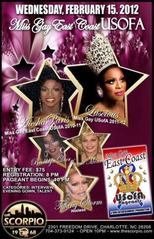 Show Ad | Miss Gay East Coast USofA | Scorpio (Charlotte, North Carolina) | 2/15/2012