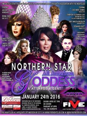 Show Ad   Northern Star All American Goddess, At Large & Gent   Five Nightclub (Madison, Wisconsin)   1/24/2016