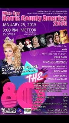 Show Ad   Miss Gay Harris County America   Meteor (Houston, Texas)   1/25/2015
