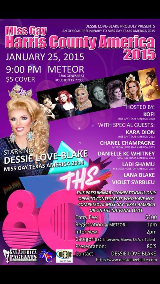 Show Ad | Miss Gay Harris County America | Meteor (Houston, Texas) | 1/25/2015