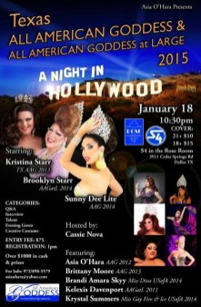 Show Ad   Texas All American Goddess and at Large   (Rose Room - Dallas, Texas)   1/18/2015