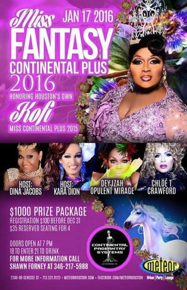 Show Ad   Miss Fantasy Continental Plus   Meteor Lounge (Houston, Texas)   1/17/2016