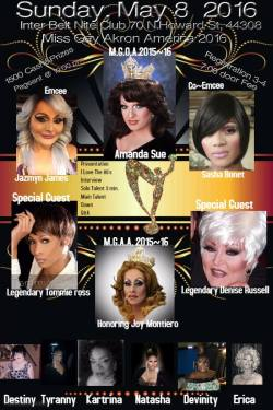 Show Ad | Miss Gay Akron America | Interbelt Nite Club (Akron, Ohio) | 5/8/2016