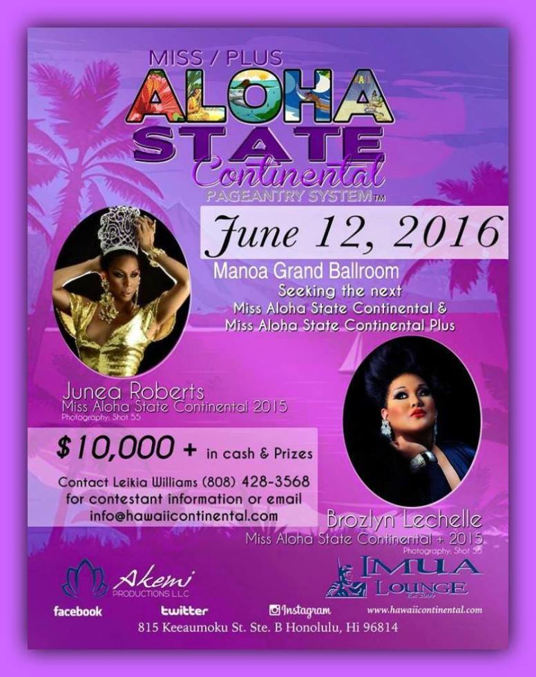 Show Ad | Miss Aloha State Continental and Plus | Imua Lounge (Honolulu, Hawaii) | 6/12/2016