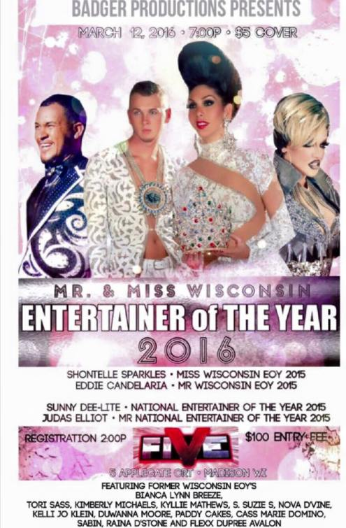 Show Ad | Wisconsin Entertainer of the Year | Five Nightclub (Madison, Wisconsin) | 3/12/2016