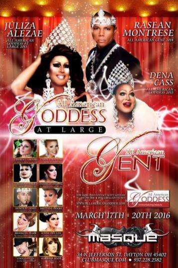 Show Ad   All American Goddess at Large and All American Gent   Masque Night Club (Dayton, Ohio)   3/17-3/20/2016