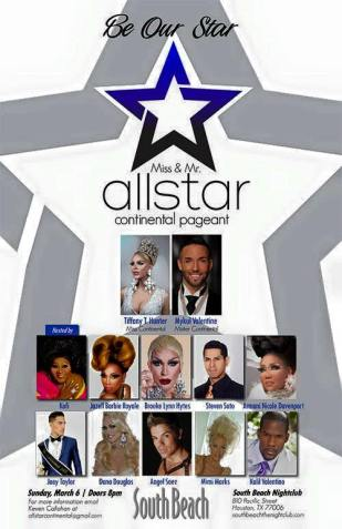 Show Ad   Mr. and Miss All Star Continental   South Beach Night Club (Houston, Texas)   3/6/2016