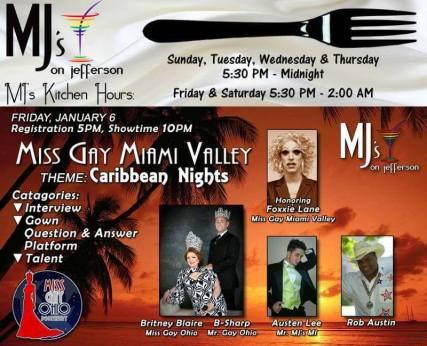 Show Ad | Miss Gay Miami Valley Ohio | MJ's on Jefferson (Dayton, Ohio) | 1/6/2017
