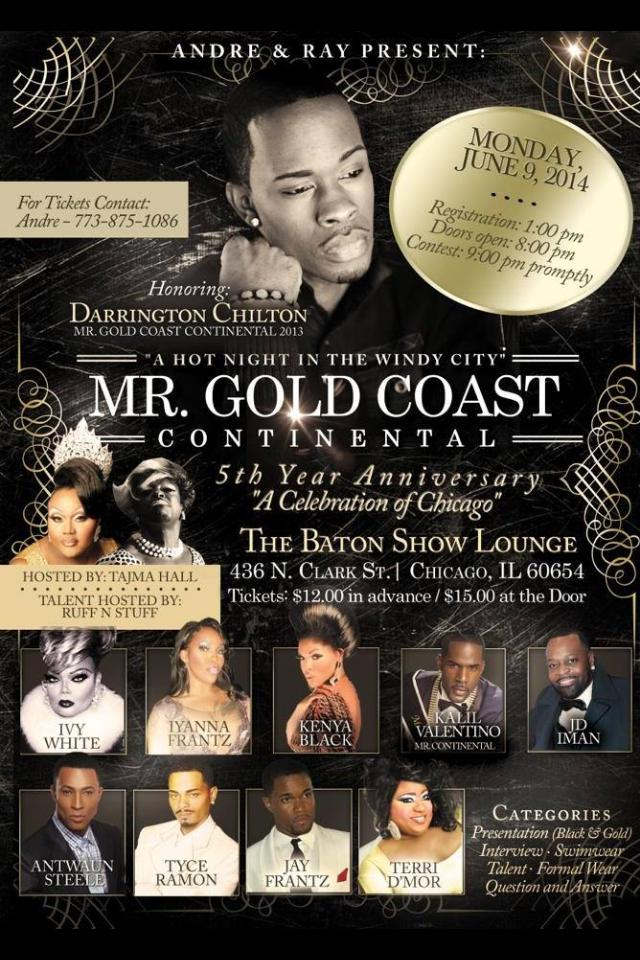 Show Ad   Mr. Gold Coast Continental   The Baton Show Lounge (Chicago, Illinois)   6/9/2014