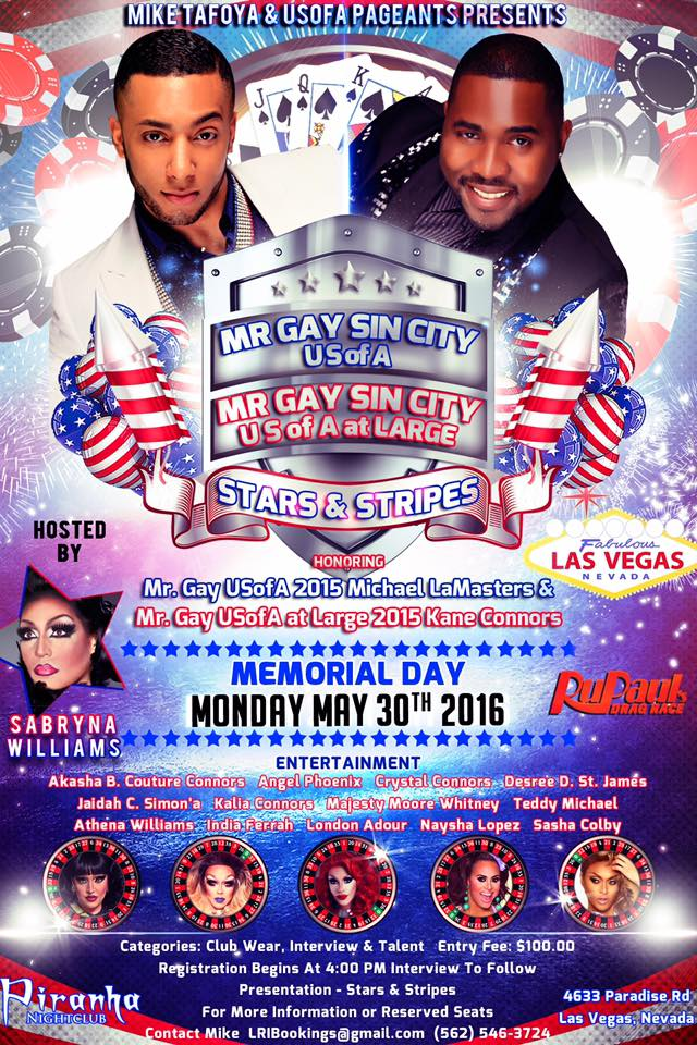 Show Ad   Mr. Gay Sin City USofA and at Large   Piranha Nightclub (Las Vegas, Nevada)   5/30/2016