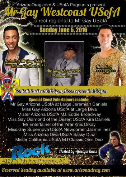 Show Ad | Mr. Gay West Coast USofA | The Rock (Phoenix, Arizona) | 6/5/2016