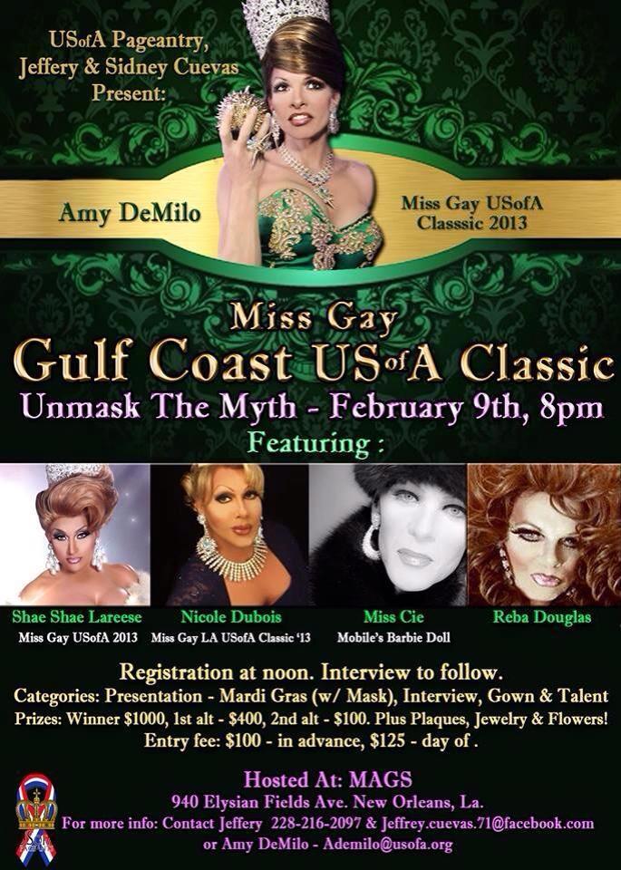 Show Ad   Miss Gay Gulf Coast USofA Classic   Mags (New Orleans, Louisiana)   2/9/2014