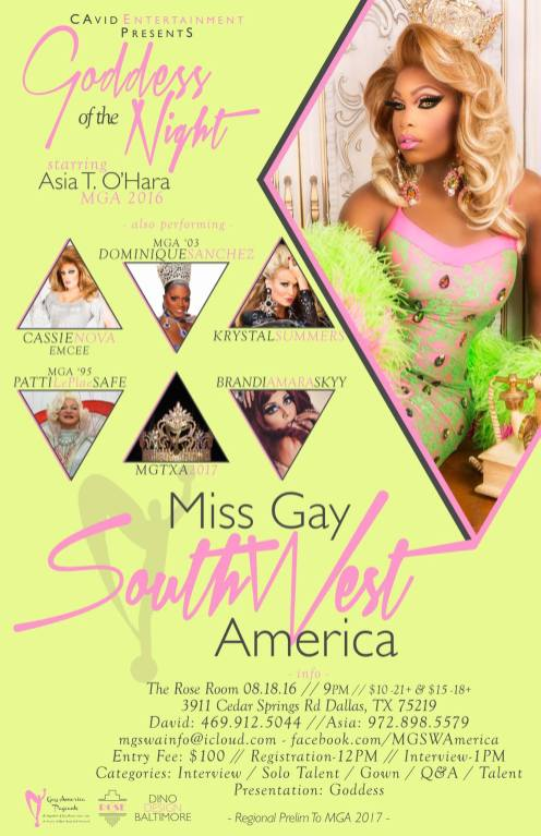 Show Ad | Miss Gay Southwest America | The Rose Room (Dallas, Texas) | 8/18/2016