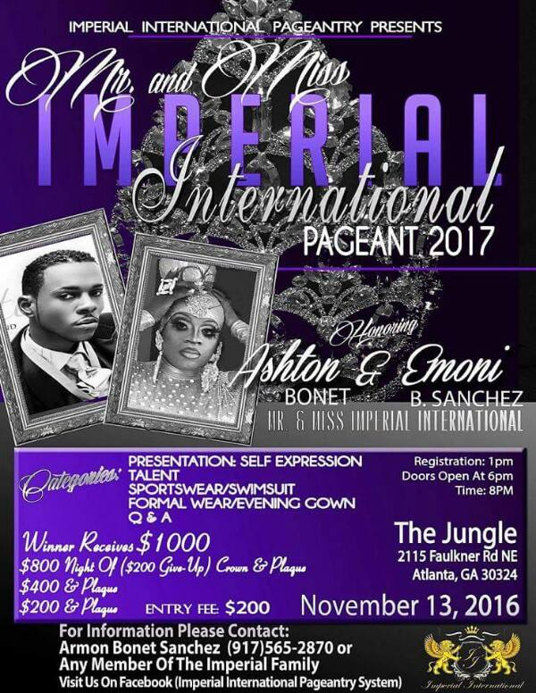 Show Ad | Mr. and Miss Imperial International | The Jungle (Atlanta, Georgia) | 11/13/2016