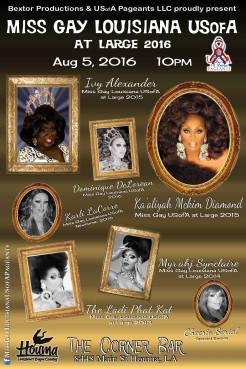 Show Ad | Miss Gay Louisiana at Large | The Corner Bar (Houma, Louisiana) | 8/5/2016
