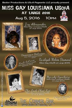 Show Ad | Miss Gay Louisiana at Large | The Corner Bar (Houma, Louisiana) | 8/5/2016
