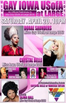Show Ad | Miss Gay Iowa USofA at Large | Garden Nightclub (Des Moines, Iowa) | 4/20/2013